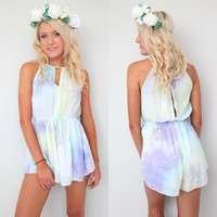 BEACH GRECIAN PASTEL MINT PURPLE TIE DYE CUT OUT PLAYSUIT JUMPSUIT 6 8 10 12