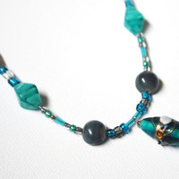 Teal and Brown Glass Beaded Sterling Silver Necklace by Meghanlee5