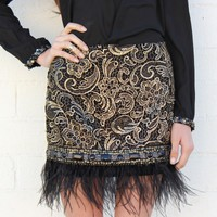 Feather Trim Embellished Skirt - Black