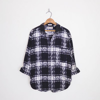 Black & White Plaid Shirt Plaid Flannel Shirt Southwest Shirt Southwestern Shirt Oversize Shirt Oversize Flannel 90s Grunge Shirt S M L