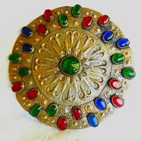 Antique GulJaka Gilded Silver Collar Button of Youmud Turkmen Women
