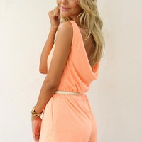 Peach Sleeveless Mini Playsuit with Open Draped Back