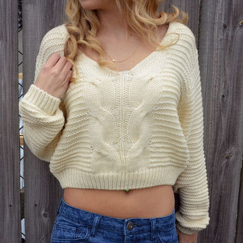 Creme Crop Cable Knit Sweater