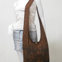 Dark Brown Hippie Hobo Boho Vintage Elephant Sling Cotton Yam Buddha Crossbody Shoulder Messagenger Bag Purse Tote EA07