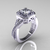 Classic 14K White Gold 1.23 CT Princess White Sapphire Diamond Engagement Ring R189P-14KWGDWS