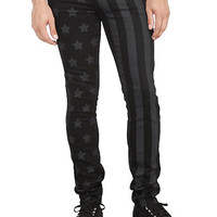 Rude Black And Grey Flag Skinny Fit Denim Jeans