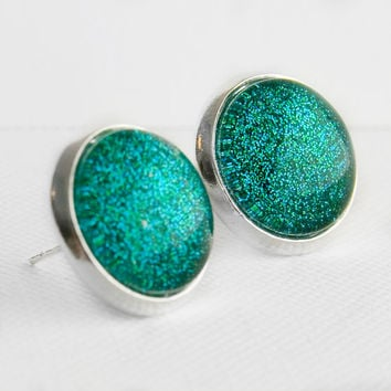 Mermaid Tears Post Earrings in Silver - Turquoise Blue Green Glitter Earrings