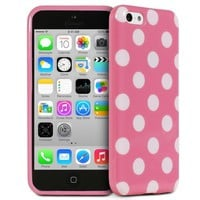 Fosmon iPhone 5C Case [DURA-POLKA] Polka Dot Flexible TPU Cover (Pink / White Dots)