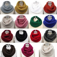 Eyourlife Christmas Women Men Winter Cable Knit Wool Circle Cowl Infinity Scarf Collar Shawl