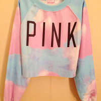 Retro rainbow color mixing letters PINK Printed Sweater BABHB