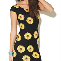 Daisy Print Bodycon Dress | Wet Seal