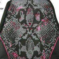 Faux Rattleskin Black Gray Decorative Car Seat Cover