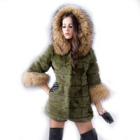 Womne's Rabbit Fur Coats Jackets with Cap Raccoon Fur Collar