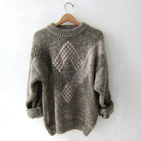 vintage oversized sweater. popcorn sweater. earth tone colors.