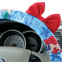 The Original Little Mermaid Inspired Steering Wheel Cover with Matching Bright Red Bow