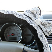 The Original Black and Lace Steering Wheel Cover with Matching Bow