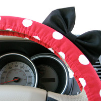 The Original Minnie Mouse Inspired Red Polka Dot Steering Wheel Cover with Matching Black Bow
