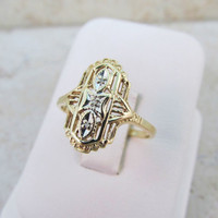 Art Deco Ring 10k Yellow Gold Ring Shield Ring Estate Ring Vintage Gold Ring Dainty Ring Filigree Ring Size 7.5