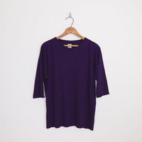 Purple Black Stripe Top Black Purple Stripe Shirt Stripe T-Shirt Stripe Tshirt Stripe Tunic Top Oversize Shirt 80s 90s Grunge Top S M L