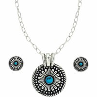 Montana Silversmiths Silver and Turquoise Concho Jewelry Set - Tractor Supply Co.
