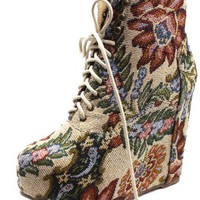 Women's Vintage Berkeley-05 Floral Laced Up Wedge Heel Ankle Boots Fashion Shoes