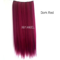 X&Y ANGEL Two Tone One Piece Straight Synthetic Thick Hair Extension Clip-on Hairpieces (wine red)