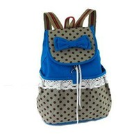 niceEshop Lightweight Bow Polk Dots Lace Dayback Backpack Canvas Bookbag School Bags for Girl, Blue
