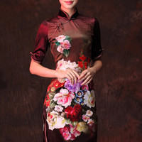 YannyExpress | Velvet Cheongsam Dress Purple Floral Mandarin Dress