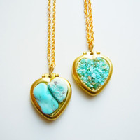 Turquoise Heart Necklace - Raw Gemstone - Vintage Modern- Heart Shaped Lockets