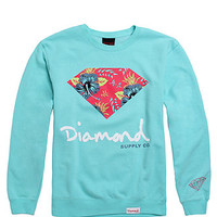 Diamond Supply Co Floral Script Crew Fleece - Mens Hoodie - Green - Extra Large