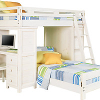 Creekside White Wash Twin Twin Student Loft Bed w Desk & Chest