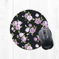 Spring Floral Mousepad - Radiant Violet Purple Roses and Black Mouse Pad