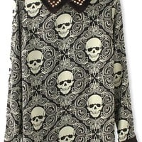 Studded Skull Long Blouse