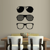 Wall decal decor decals sticker glasses style eyes sun fashion ray (m297)
