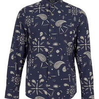 Blue Off-White Paisley Print Long Sleeve Flannel Shirt - New In