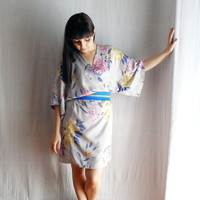 Grey kimono dress in satin Obi belt included by AliceCloset