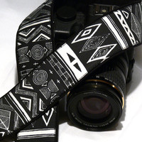 dSLR Camera Strap. Geometric Camera Strap. White and Black Camera Strap.