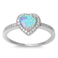 Sterling Silver Micro Pave Halo Opal Heart Ring (Size 5 - 10)