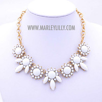 White Flower Power Statement Necklace