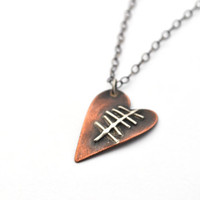 Heart Necklace with Silver Scar, Copper and Silver Necklace with Bronze Chain from the Doodle Heart Collection, Mixed Metal Jewelry