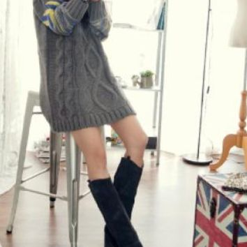 Gray Cable Knit Printed Sleeves Sweater