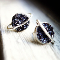 The Cosmos Collection- Drusy Saturn Studs in Black and Sterling Silver
