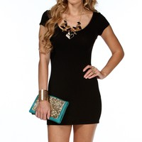 Black Fitted Short Sleeve Top