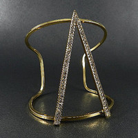FASHION GOLD PLATED METAL RHINESTONE OPEN CUFF
