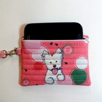 Cell Phone Case Wristlet Purse, Pink Watermelon Westie