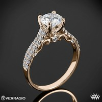 20k Rose Gold Verragio Dual Row Shared-Prong Diamond Engagement Ring