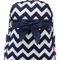 Chevron Print Backpack Navy