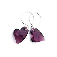 Purple Heart Earrings, Amethyst, Earrings, Dark Purple Earrings, February Birthstone, Sterling Silver Hoop, Plum Crystal