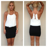 Black & White Halter Club Dress