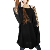 Allegra K Woman Leopard Print Dolman Sleeve Tunic Shirt Top